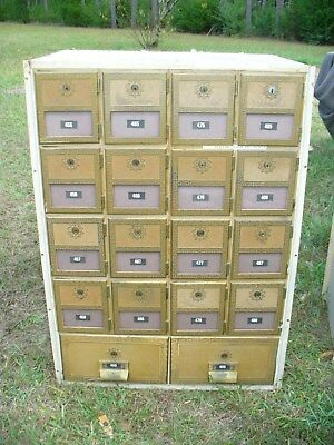 Original Vintage Post Office Box Cabinet with 18 brass doors