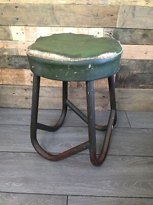Heavy Mid Century Industrial Factory Stool Salvaged Metal Desk Singer Evertaut