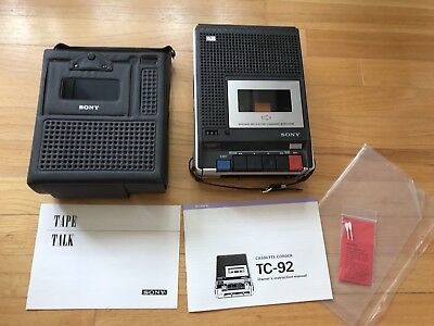 Sony TC-92 Cassette Recorder - Vintage - with Case & Manual - EUC Tested