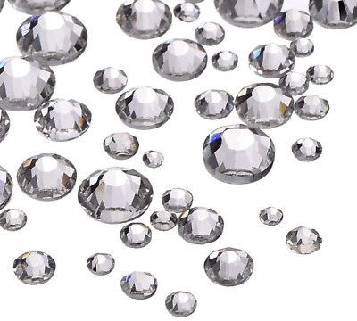 1000 Flat Back Crystals Clear AB Rhinestones 3-6mm NON HOTFIX Gems Beads Resins