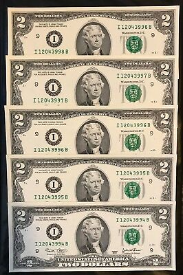 2003 $2 x 5 New Two Dollar Bills Consecutive Uncirculated BEP Pack Minneapolis
