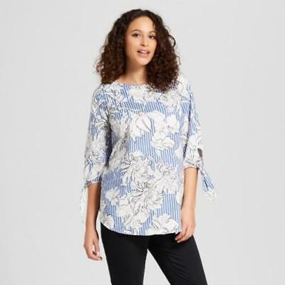 Target Ingrid & Isabel Maternity Tie Sleeve Floral Stripe Top Blouse Blue White