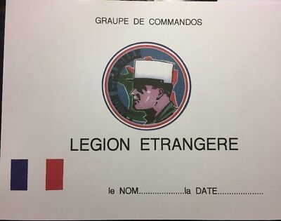 FRENCH FOREIGN LEGION  Certificate-Diploma. Comes Blank Fill In Own Information
