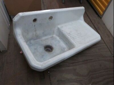 "Vintage Richmond Cast Iron Drainboard Farmhouse Sink 42"" 1950"