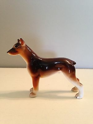 Tiny Doberman Pincer collectable dog figurine Made In Japan FREE SHIPPING!
