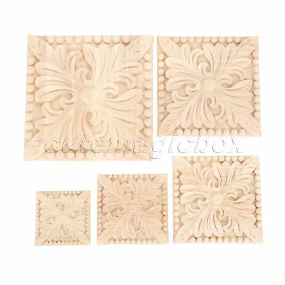 Rubber Wood Carved Floral Applique Decor Door Bookcase Onlay Decal Exquisite DIY