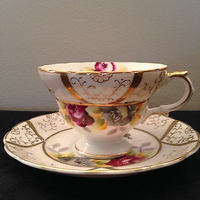Vintage SHAFFORD Japan Hand painted pedestal tea cup with Red Rose