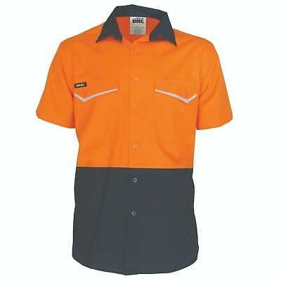 DNC Hi Vis 100% Cotton Safety Shirt  Air Flow Vents Size XS - 6XL RipStop Fabric
