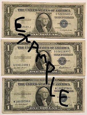 3x Lot 1935 (A-H) or 1957 (A-B) $1 One Dollar SILVER CERTIFICATE RARE BLUE SEAL!