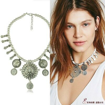 Vintage Boho Antique Silver Pendant Coin Bib Statement Tassel Pendant Necklace
