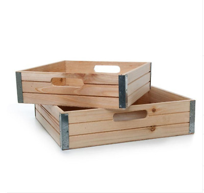 Urban Look Wooden Gourmet Hamper Tray Set 2 35x35x9cmH Natural