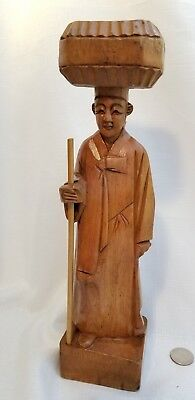 Vintage Asian Man With Wrapped Gift on Head Japanese Chinese Korean wood statue