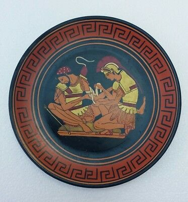"Vintage 7"" Decorative Plate Handmade Painted Greece Greek  older reproduction"