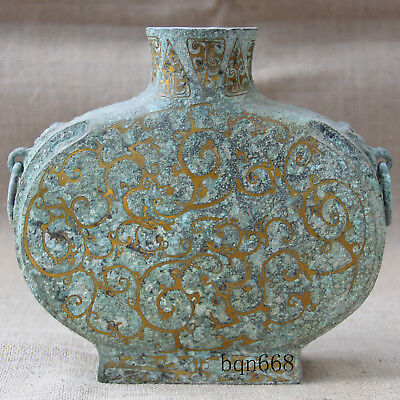 """7"""" China rare old Antique shangzhou unearthed bronze Gilt dragon vase"""