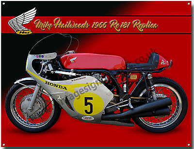 Honda Rc181 1966 Mike Hailwood Replica Motorcycle Metal Sign.(A3 Size)
