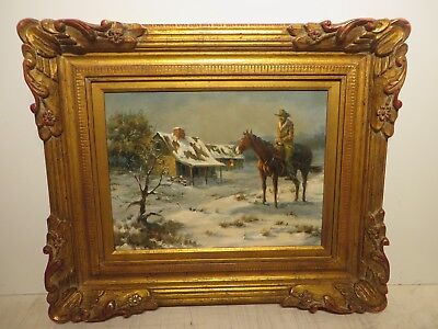 "12x16 org. 1972 oil painting by Gary Lynn Roberts ""The Western Snow Rider"""