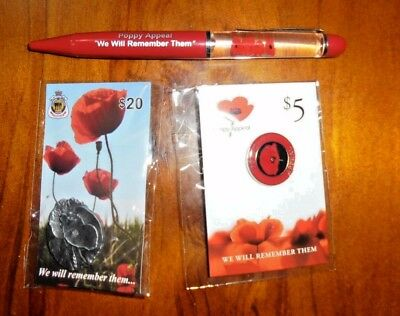 Two Red Poppy brooch badge remembrance lapel pins + Poppy Pen ~ New