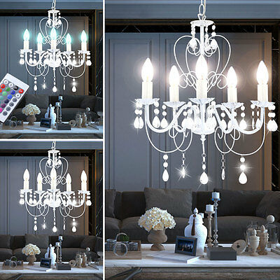 Led Hanging Light RGB Remote Control Crystal Chandelier Colour Chaning White