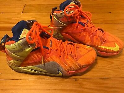 best loved 538f3 9799a NIKE AIR LEBRON 12 XII Six Meridians 6 Neon Orange Volt Boys Girls Size 6Y  6 Y