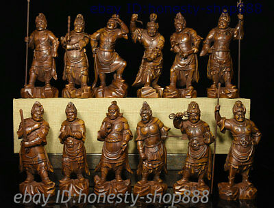 """7"""" Old China Boxwood 12 Zodiac Year uphold the constitution Celestial Statue Set"""