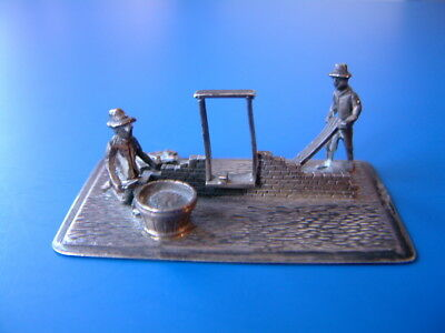 "Hallmarked Dutch Silver Miniature Bricklayers / Builders - 2""/5cm long"