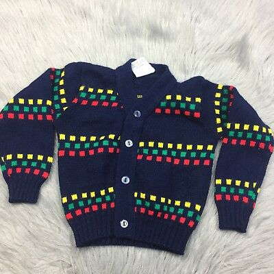 Vintage Navy Red Green Yellow Square Cardigan Unisex Sweater