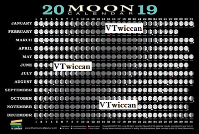 ~ 2019 MOON Calendar Chart Reference Card Astrology Wiccan Pagan Witch