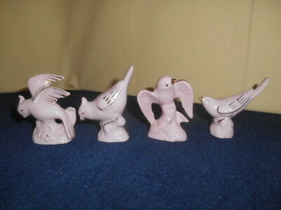 Set of 4 Vintage Mini Pink Ceramic Bird Figures w/ Gold Accents Japan 1950's