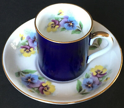 Crown Staffordshire Cobalt Blue With Pansies Demitasse Cup And Saucer England
