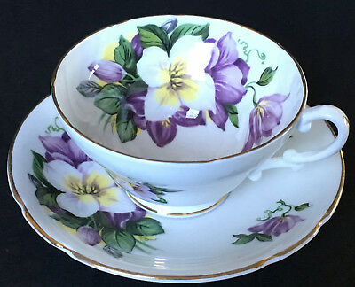Stanley Purple And White Floral Cup And Saucer England