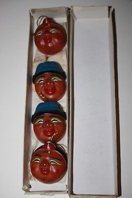 Vintage Asian Wooden Hand Carving Traditional Small Mask Ornaments