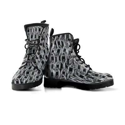 Chained Mens Faux Leather Boots | Fetish Style Bondage Mens Shoes