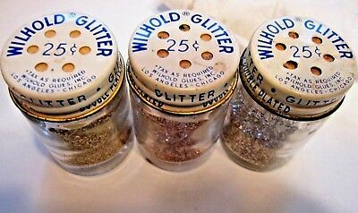 3pc Vintage Glass Glitter Craft Bottle Shakers