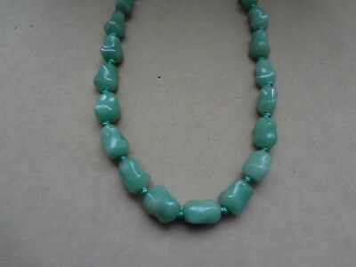 Vintage Hand Knotted Natural Green Stone Nugget Necklace W/ Silver Clasp