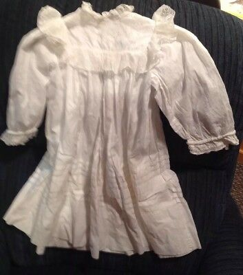 Antique New England Child's Dress Cotton W/ Lace & Eyelet Top