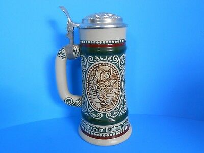 Vintage '78 Avon Rainbow Trout English Setter Beer Stein Hunting Fishing Brazil