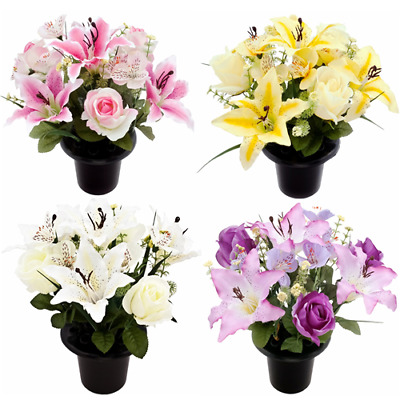 Artificial Flowers Memorial Cemetery Grave Pot with Lily Rose and Alstroemeria