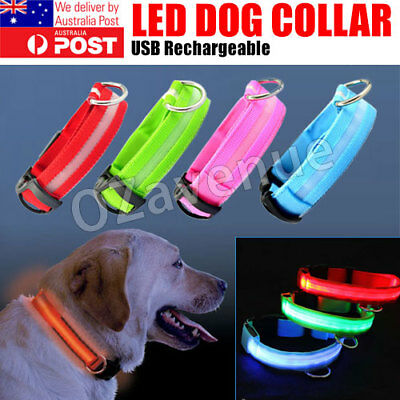 USB Rechargeable LED Pet Dog Collar Nylon Glow Flashing Light Up Safety Collars