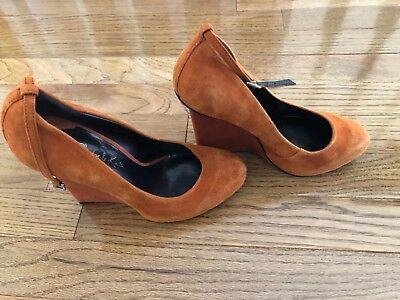 5313a8277ee2 Charles David Orange Suede Leather Ankle Strap Women s Wedge Heel Shoes  Size 36