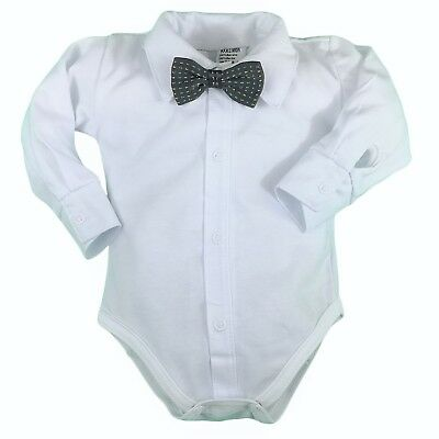 BNWT Baby Boy Shirt Bodysuit Smart Vest with BOW Christening Christmas Birthday