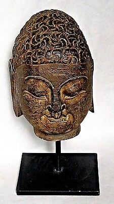 ANTIQUE 18c CHINESE HARD STONE HAND CARVED BUDDHA HEAD STATUE