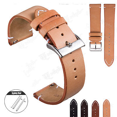 12 - 24mm Vintage Hand-Stitched Mens Leather Watch Band - Quick Release Strap