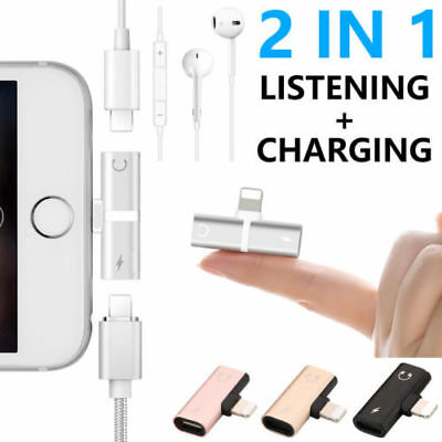 For IPhone7/8Plus/XS 2in1 Aux Audio Adapter Splitter Headphone Charge Cable Cord