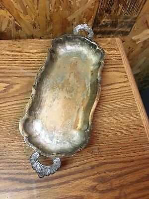 Vintage Bristol Silverplate Decorative Serving Footed Tray Oval 57 R Poole