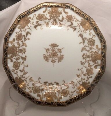 """Nippon Hand Painted Antique Heavy Gold Moriage Cobalt Plate 7 3/4"""""""