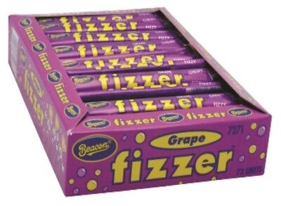 72 x BEACON FIZZER GRAPE PURPLE CHEWY FIZZY INDIVIDUALLY WRAPPED LOLLIES FIZZERS