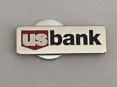 """New US BANK Silver, Red, & Blue Magnetic Pin! Very Rare! """"US Bank"""""""