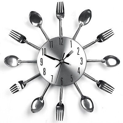 Sliver Home Decoration Cutlery Kitchen Utensil Spoon Fork Clock Wall Clock New