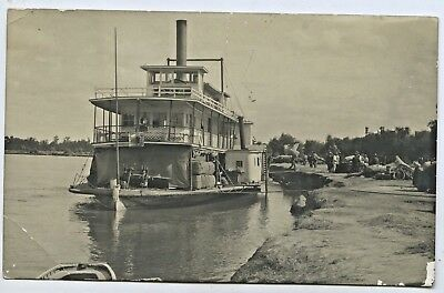 C1908 Rp Npu Postcard Paddle Steamer Ss Gem Offloading Cargo River Murray Sa S14
