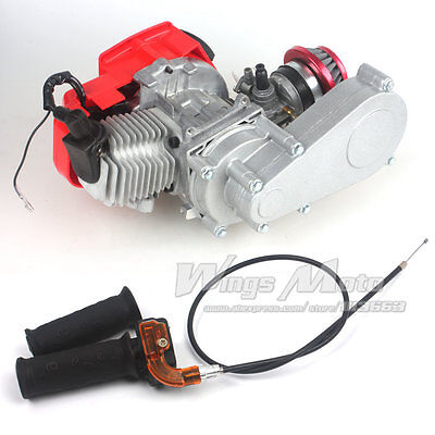 49CC 2 Stroke DIY Engine w/ T8F 14t Gear Box Pocket Mini Air Filter+Grips+Cable